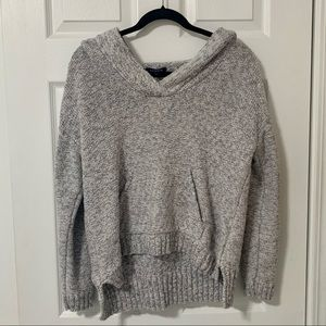Lands' End Grey Knitted Hoodie Sweater